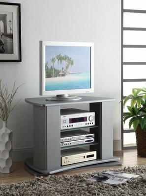 Gorgeous Silver Entertainment Stand with Glass Shelves by 4D Concepts
