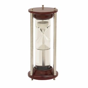 Gorgeous Wood Aluminum Glass Floating Sand Timer - 24537 by Benzara
