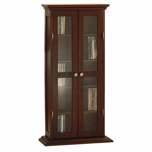 Winsome Wood Gorgeous Wooden CD- DVD Cabinet with Glass Doors