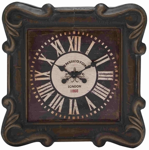 Square Shaped Metal Wall Clock with Beautifully Forged Metal Frame - 51013 by Benzara