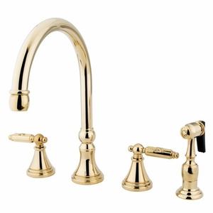 Gourmetier GS2792GLBS Two Handle Kitchen Faucet, Polished Brass