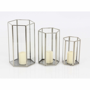 Grace Metal Candle Holder, Set Of 3 - 57379 by Benzara