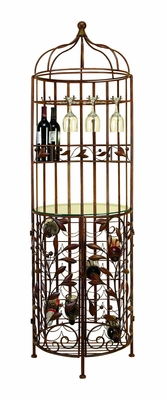 BROWN METAL GLASS WINE CABINET - 50017 by Benzara