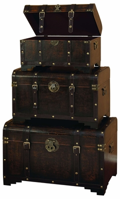 WOOD LEATHER TRUNK S/3 SET OF THREE USABLE LEATHER TRUNK - 39409 by Benzara