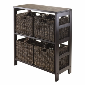 Winsome Wood Granville 5pc Storage Shelf with 4 Foldable Baskets