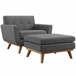 Gray Engage 2 Piece Armchair and Ottoman