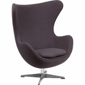 Gray Wool Fabric Egg Chair Gray - ZB-18-GG by Flash Furniture