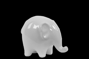 Great Small Ceramic Elephant Gloss White