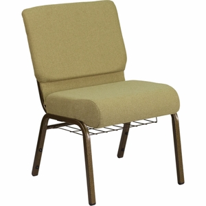 Green Fabric Church Chair - FD-CH0221-4-GV-GN-BAS-GG by Flash Furniture