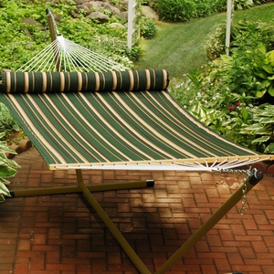 Green, Tan stripe pattern and solid 13' Reversible Quilted Hammock