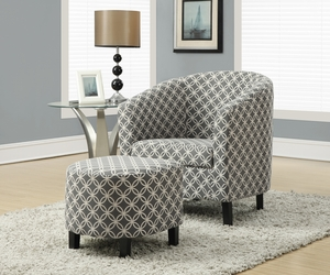 "Grey "" Circular "" Fabric Accent Chair and Ottoman"