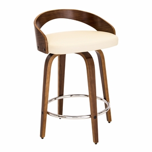 Grotto Mid-Century Modern Counter Stool with Walnut Wood and Cream PU Leather