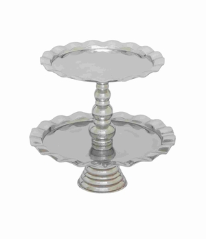 Stainless Steel Two Tiers Cupcake Stand Designed With Curved Edges - 27482 by Benzara