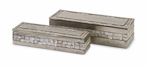 Haines Aluminum Mother of Pearl Boxes - Set of 2