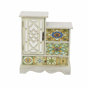 Hand Painted Floral Wood Jewelry Chest - 56699 by Benzara