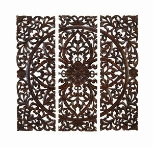 Wood Carved Plaque Set Of 3 With Carving At Ultimate Standard - 14255 by Benzara