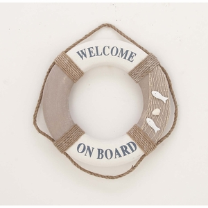 Handcrafted Polyuthrane Decor Vintage Life Ring With Rope Bands - 98850 by Benzara