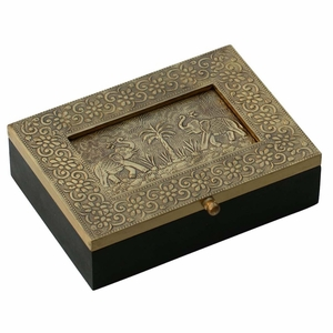 "Handmade 7.5"" Wooden Jewelry Box With Embossed Metal Sheet On The Lid"