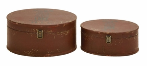 Handmade Round Wooden Trinket Box Set Perfect For Jewelry - 56096 by Benzara