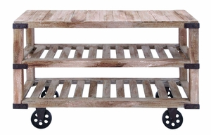 Rustic Console Cart With Portable Wheels - 55929 by Benzara