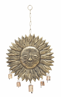 Hanging Sun Face Wind Chime For Melodious Sound - 26714 by Benzara