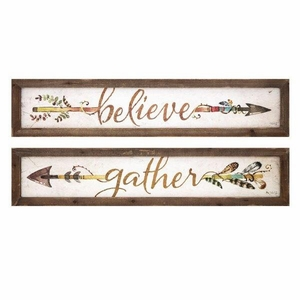 Harvest Believe and Gather Wall Plaques - Assortment of  2 - Brown - Benzara