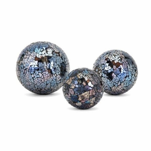 Harvest Mosaic Deco Balls - Set of 3 - Multicolor - Benzara