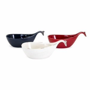 Hawkins Whale Chip and Dip Dishes - Assortment of 3 - Multicolor - Benzara