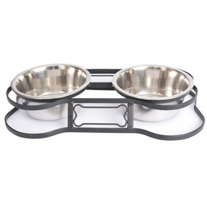 Iconic Pet Heavy Duty Pet Double Diner for Dog or Cat (Bone Design)