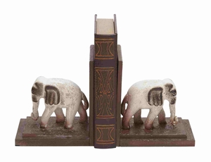 Helsinki Bookend Pair Elephant Chiseled Charismatic Creation Brand Benzara - 51003 by Benzara