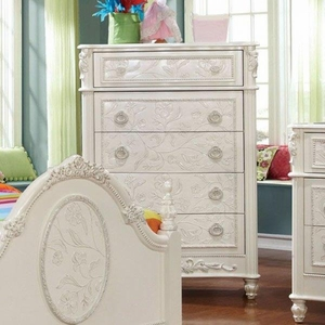 Henrietta Fairy Tale Style Chest With Floral Carved Motif, White