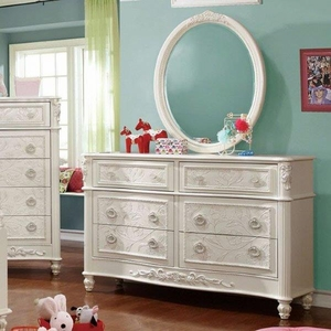 Henrietta Fairy Tale Style Dresser With Floral Carved Motif, White