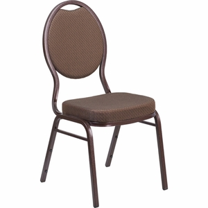 HERCULES Series Teardrop Back Stacking Banquet Chair in Brown Patterned Fabric