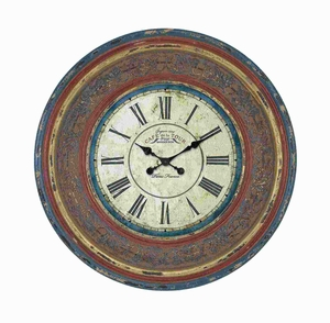 Wood Wall Clock with Large Roman Numerals - 89239 by Benzara