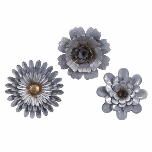 Hillary Galvanized Wall Flowers - Set of 3 by IMAX