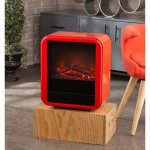 Holly & Martin Fasser Electric Fireplace - Red-Orange by Southern Enterprises