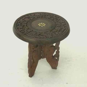 Miniature Carved Wooden Table with Inlay Furniture Brand IOTC