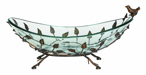 Home Decor Oval Glass Bowl On Multi Leaf Metal Base Design 68507 By Benzara