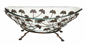 Home Decor  Round Glass Bowl on Metal Stand w/ Multi Leaf Design  - 68526 by Benzara