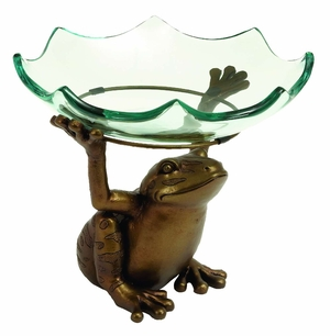 Home Decor Scallop Glass Bowl on top of Standing Frog Design  - 68502 by Benzara