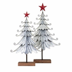 Homestead Christmas Galvanized Trees - Set of 2 - Gray - Benzara