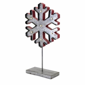 Homestead Christmas Large Lighted Snowflake On Stand - Gray and Red - Benzara