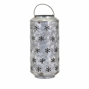 Homestead Christmas Large Metal Snowflake Lantern - Gray - Benzara