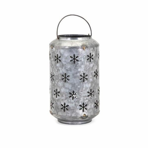 Homestead Christmas Medium Metal Snowflake Lantern - Benzara