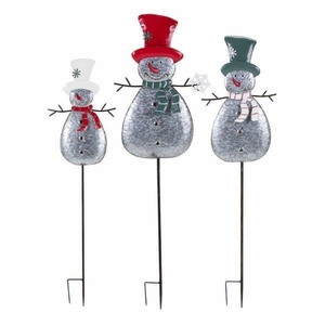 Homestead Christmas Metal Snowman Yard Stakes - Set of 3 - Gray -  Benzara