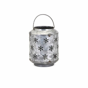 Homestead Christmas Small Metal Snowflake Lantern - Benzara