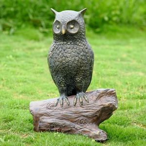 Hooting Owl Aluminum Figurine with Bluetooth Speaker by SPI-HOME