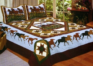 Horse Whispers Quilt Handmade King Size Bedding by American Hometex