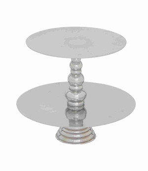 Exotic Stainless Steel Cupcake Stand With Two Tiers - 27481 by Benzara