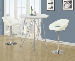 I 2306 White / Chrome Metal Hydraulic Lift Barstool
